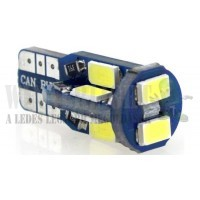 Autós led T10 CANBUS helyzetjelző,index világítás, Samsung chip, 10 led, 100 Lumen, 2,3W, sárga