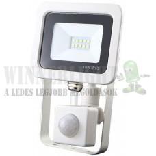 Led reflektor 10W, keskeny, fehér házban, mozgásérzékelővel, IP65, vízálló. 1050 Lumen, 4000 kelvin, közép fehér