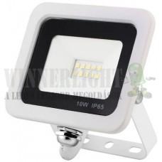Led reflektor 10W, keskeny, fehér házban, IP65, vízálló. 1050 Lumen, 4000 kelvin, közép fehér