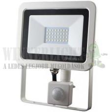 Led reflektor 20W, keskeny, fehér házban, mozgásérzékelővel, IP65, vízálló. 1850 Lumen, 3000 kelvin, meleg fehér