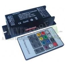 DMX512 RGB led szalag vezérlő +20 gombos infra távirányító, DC12V, 3 csatorna, 216 W